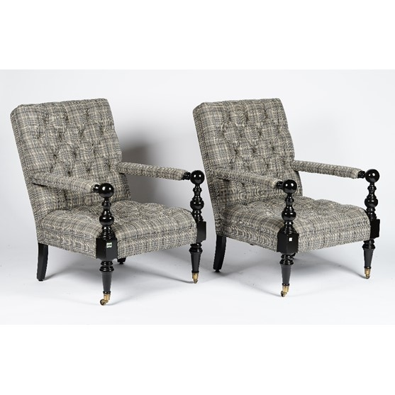 A pair of Nantucket turned ebonised frame armchairs, button down upholstered in check pattern... Image