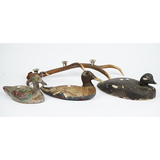 Three painted wooden decoy ducks and an antler now with three candle holders (4). Image