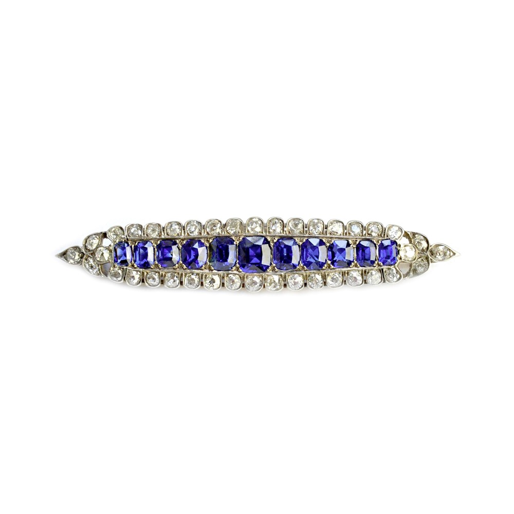 A sapphire and diamond brooch, of... Image