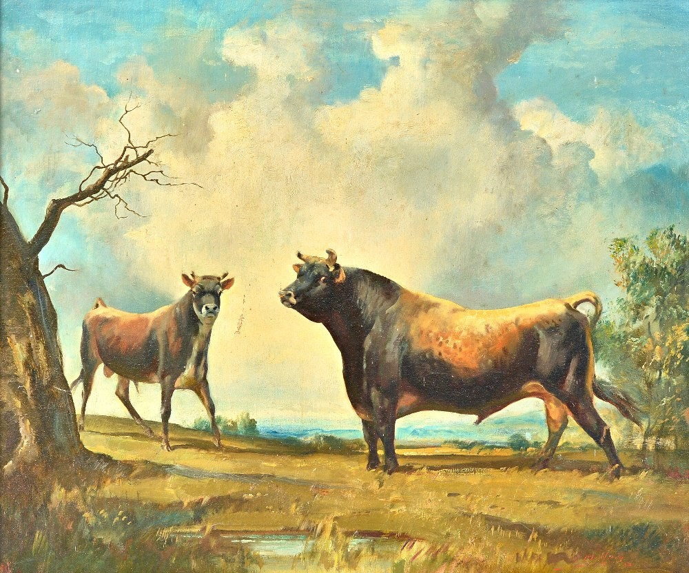 Raoul Millais (1901-1999), A cow and bull in a field, oil on canvas, signed, 49cm x 59cm. ARR... Image