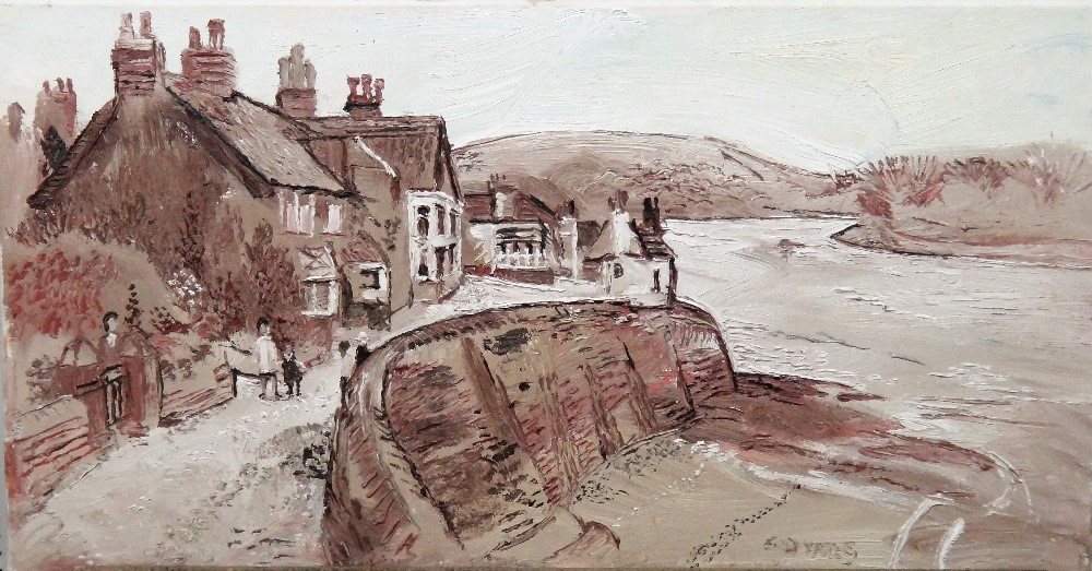 Fred Yates (1922-2008), Cornish Waterfront, oil on canvas, signed, unframed, 40cm x 76cm. ARR... Image