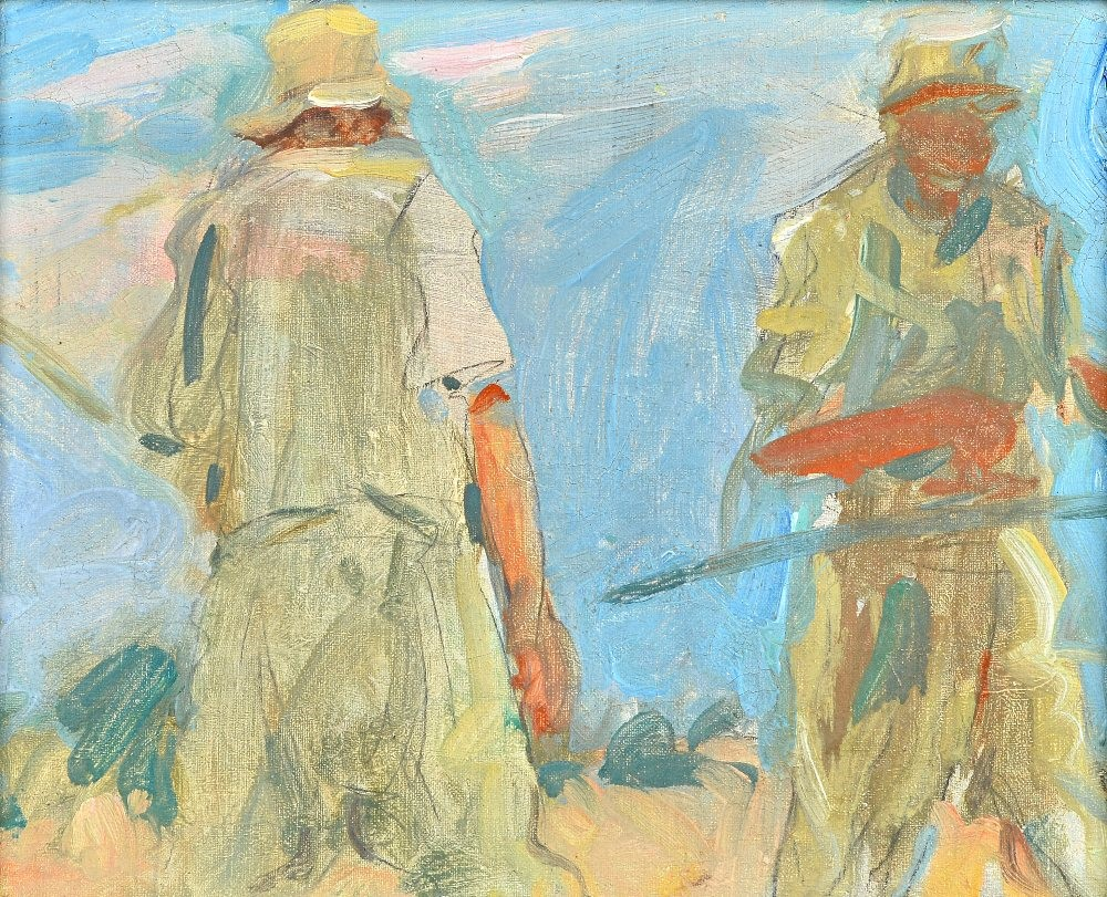 Attributed to Harry Becker (1865-1928), Field workers in midsummer, oil on canvas board, 21cm x... Image