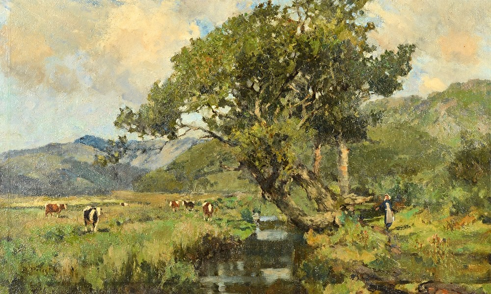 Bertram Priestman (1868-1951), Cattle grazing in the river valley, a milkmaid on the way home,... Image