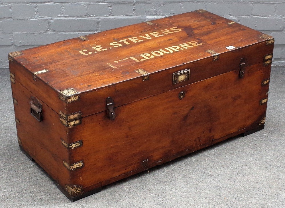 A late 19th century Chinese export, brass bound camphor wood trunk, 94cm wide x 42cm high. Image