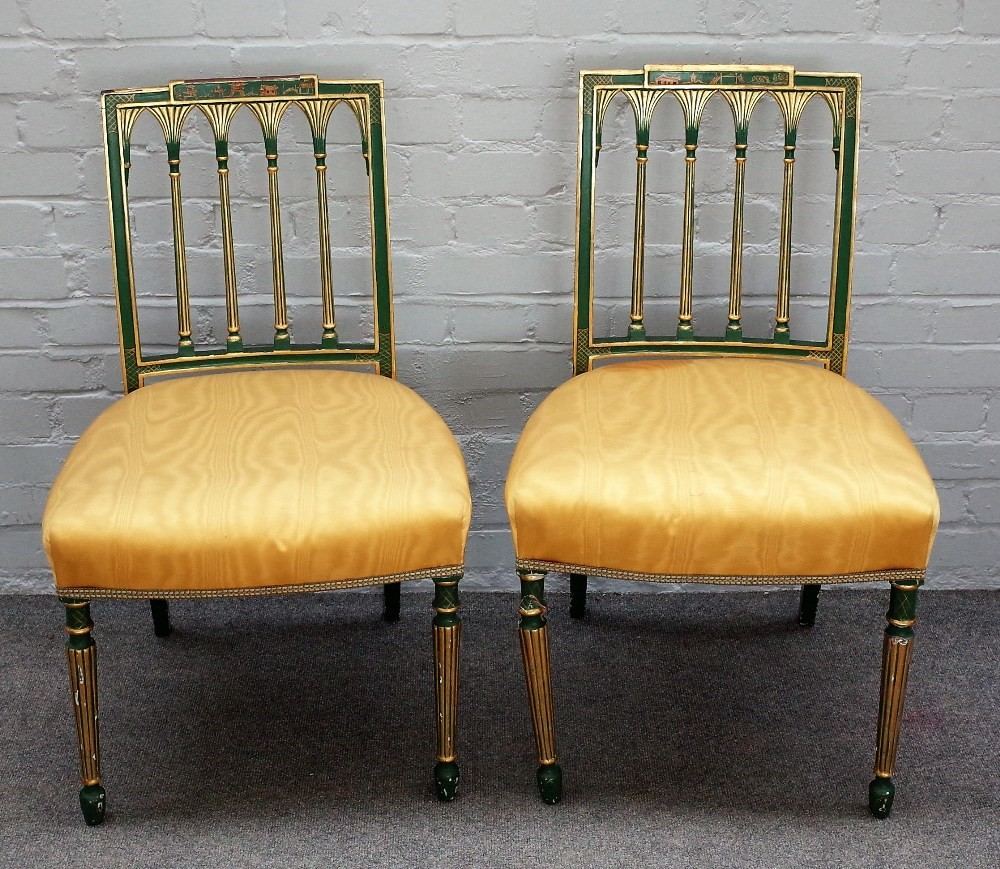 A pair of George III later parcel gilt and green decorated side chairs, with bow seat, on reeded... Image