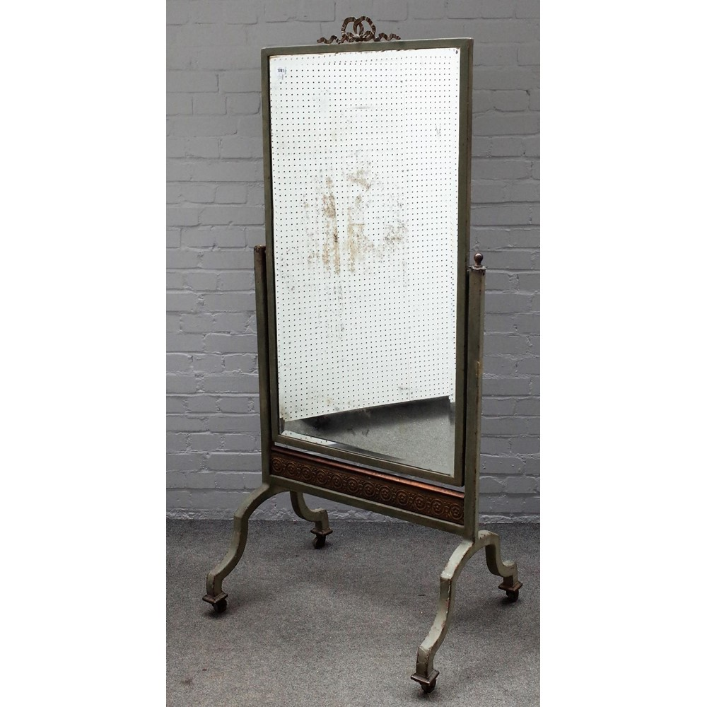 A 20th century French metal framed cheval mirror on four downswept supports, 80cm wide x 182cm high. Image