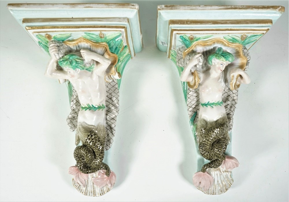 A pair of French porcelain figural wall brackets, late 19th century/ early 20th century, each... Image