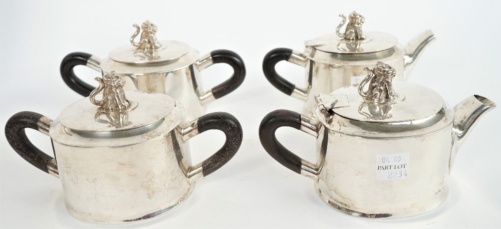 A Mexican nine piece silver tea/coffee service, each of the eight hollow ware pieces of oval... Image