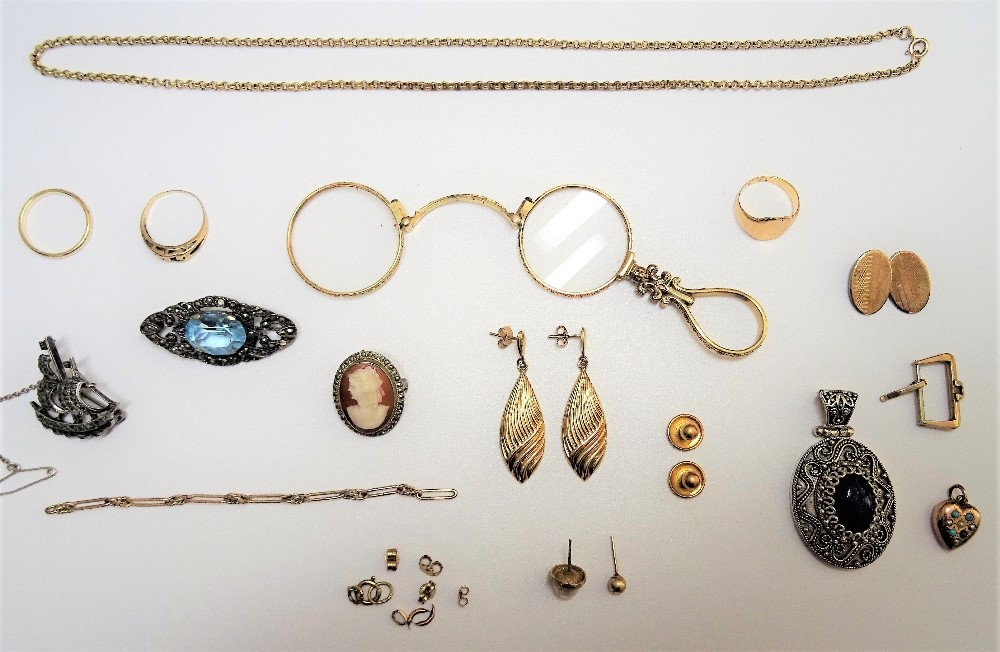 A group of mostly 9ct gold jewellery, comprising; three rings, a pair of drop shaped earrings,... Image