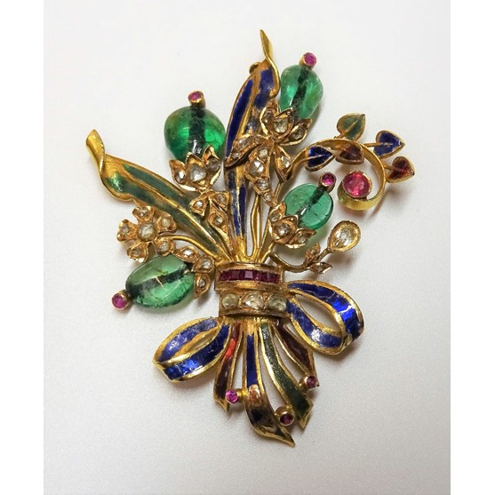 A gold, diamond, ruby, emerald, gem set and enamelled brooch, designed as a floral and foliate... Image