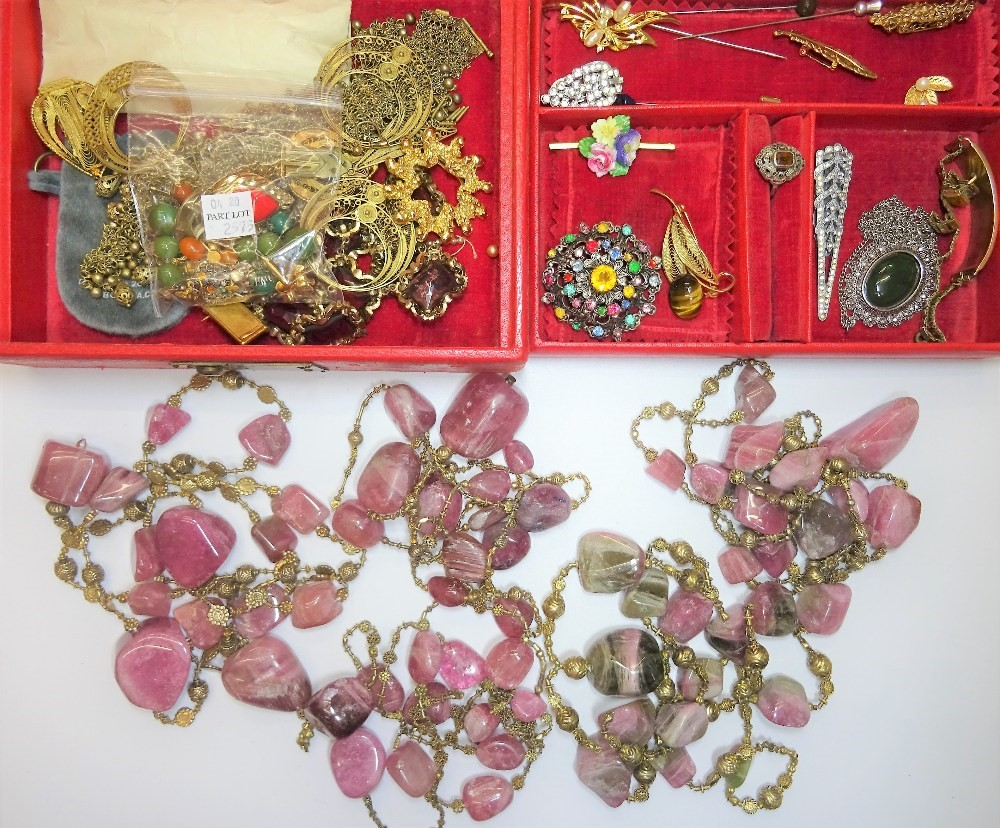 Five varicoloured tourmaline irregular bead necklaces and a small group of costume jewellery,... Image