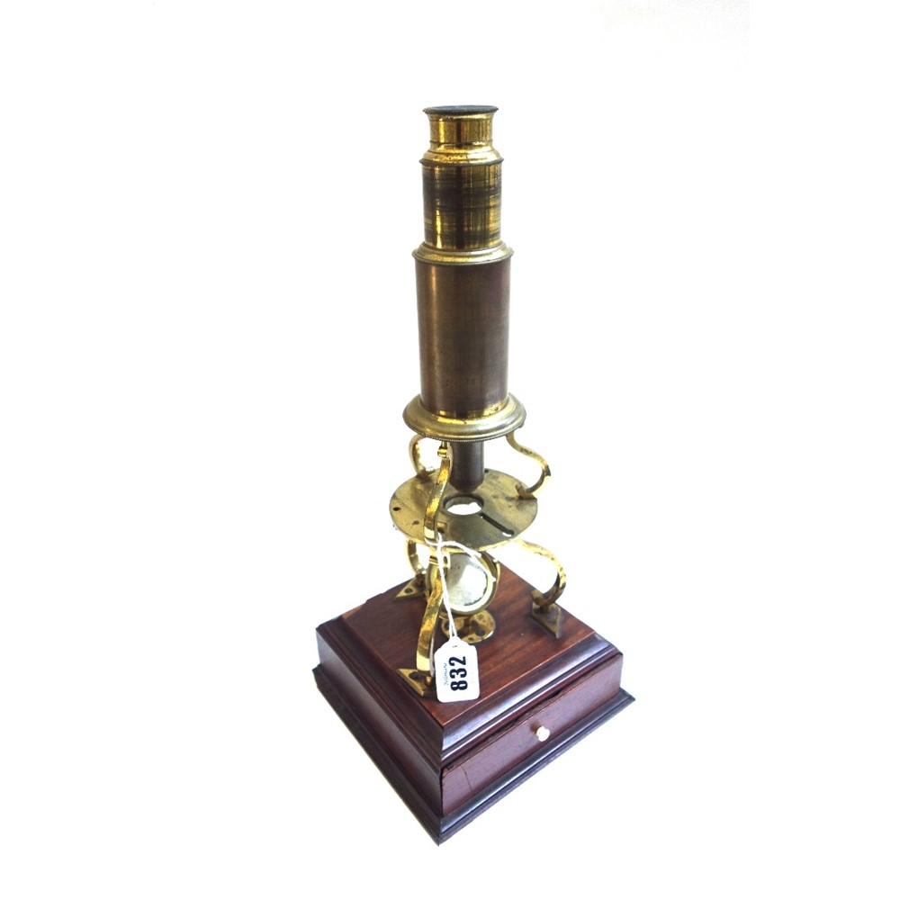 A Culpeper type brass microscope, late... Image