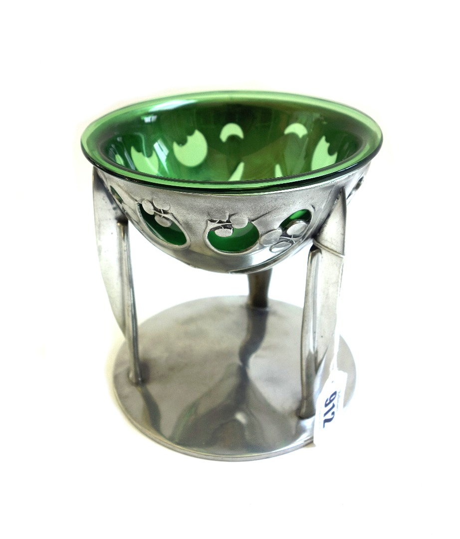A Tudric pewter and glass coupe designed... Image