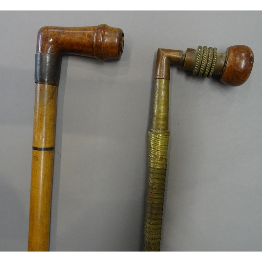 A Victorian 'pipe' gadget walking cane,... Image