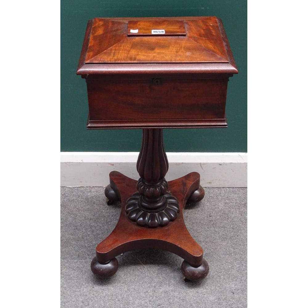 A William IV mahogany teapoy on reeded... Image