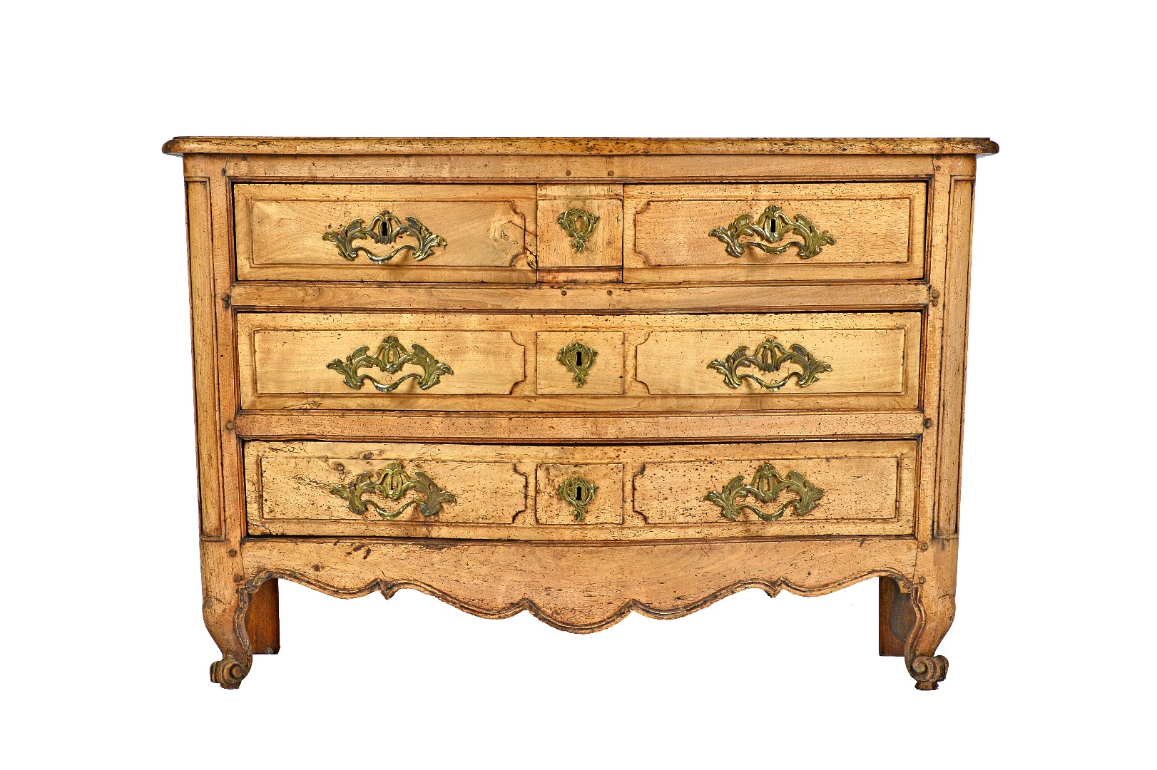 A Louis XV bleached oak commode of two... Image