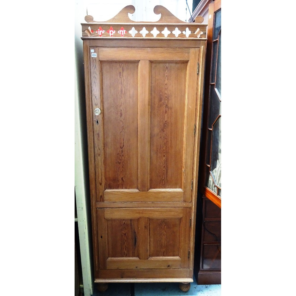 A Victorian pine cupboard with pierced... Image