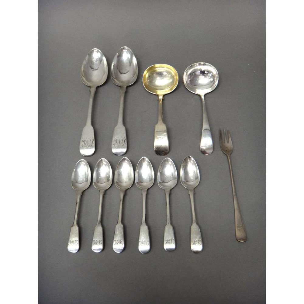 Silver flatware, comprising; a pair of... Image