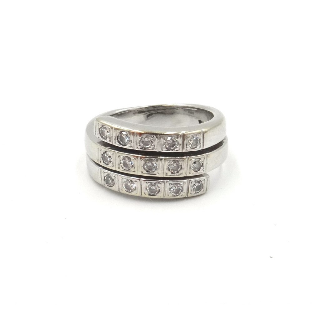 An 18ct white gold and diamond ring,... Image