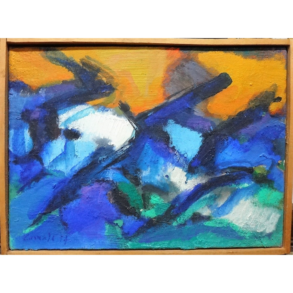 Michel Carrade (b.1923), Untitled, oil on canvas, signed and dated 57?, 24.5cm x 33cm. DDS Image
