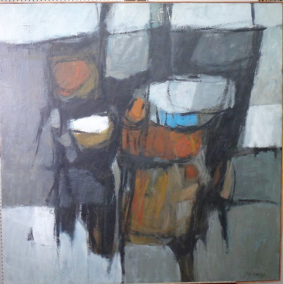 Oscar Zalameda (Filipino, 1930-2010), Abstract, oil on canvas, signed, 100cm x 100cm. Image