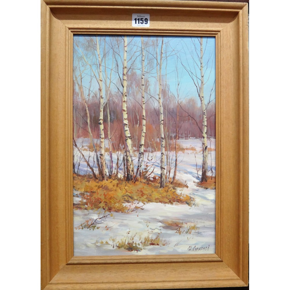 Igor Smirnov (20th/21st century), Snowy wooded scene, oil on canvas, signed, 39cm x 25cm. Image