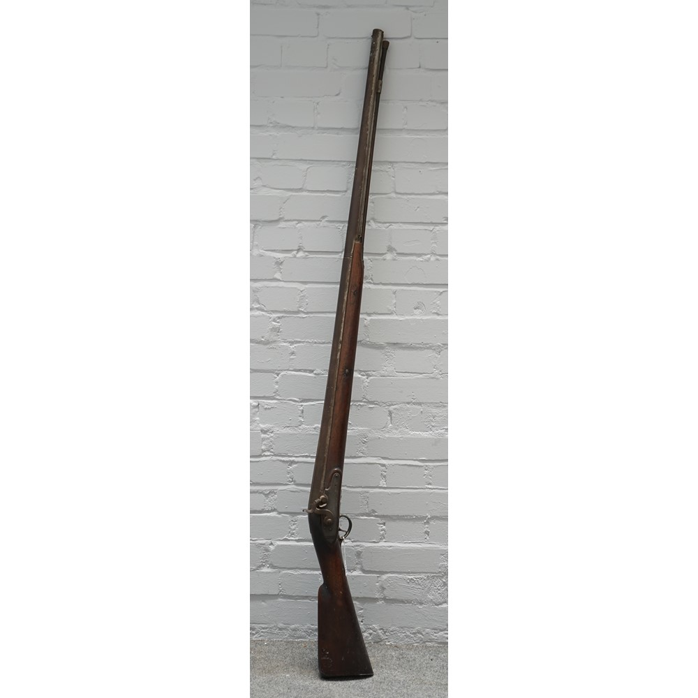 A 19th century four bore percussion action rifle with plain steel barrel, 121cm, ram rod, plain... Image