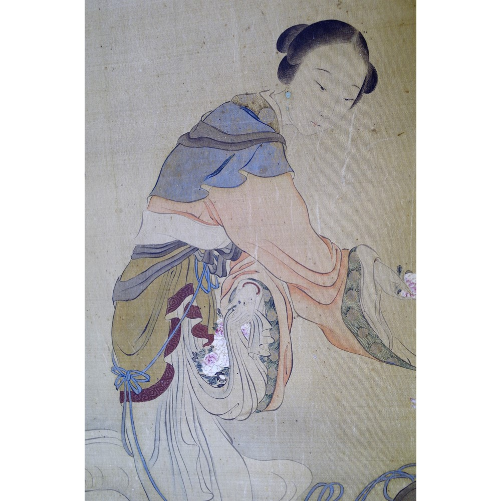 A Chinese watercolour on silk, late 19th century, painted with a young woman carrying... Image