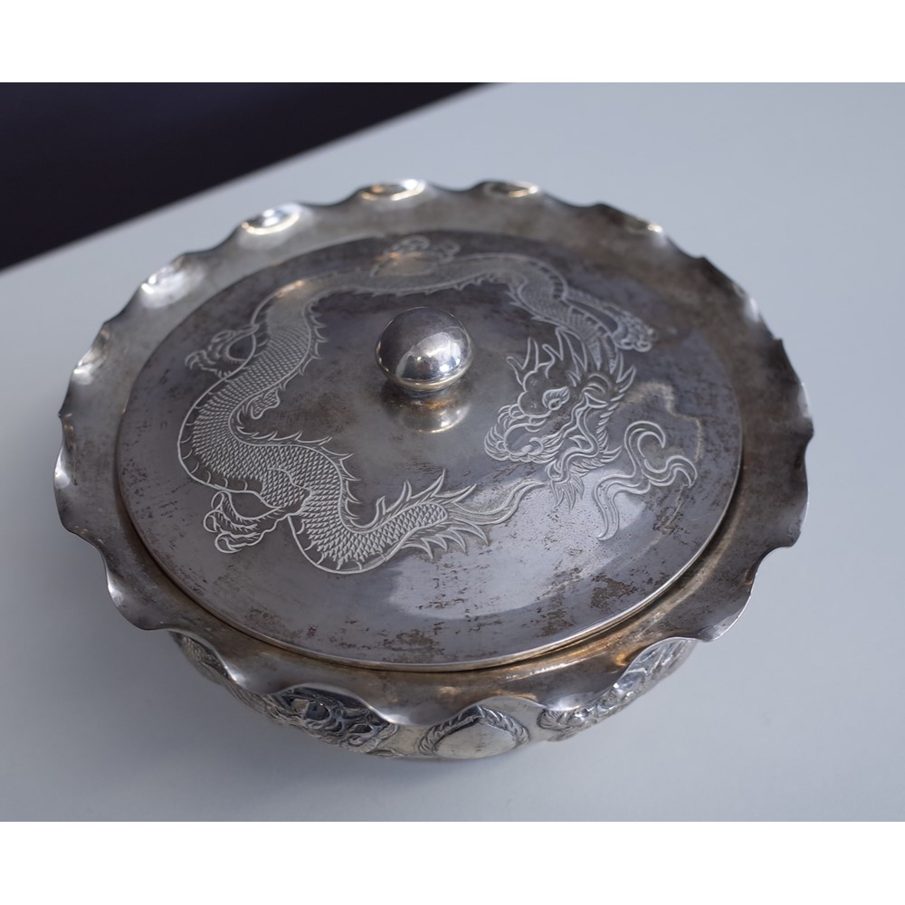 A group of Chinese and Asian wares, comprising; a preserve dish stand and cover, decorated with... Image