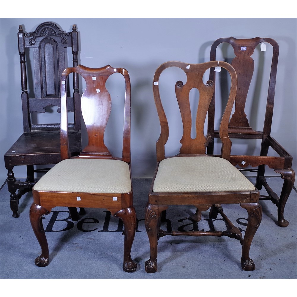 Remarkable A Group Of Three Queen Anne Style Mahogany Vase Back Dining Dailytribune Chair Design For Home Dailytribuneorg