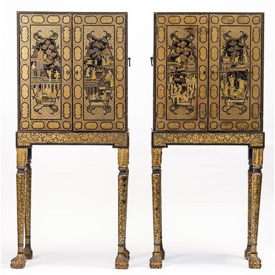 A pair of 19th century Chinese export black lacquer chinoiserie decorated cabinets on stands,... Image