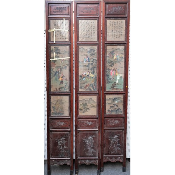A large Chinese nine panel double-sided screen, circa 1900, each panel inset on one side with... Image