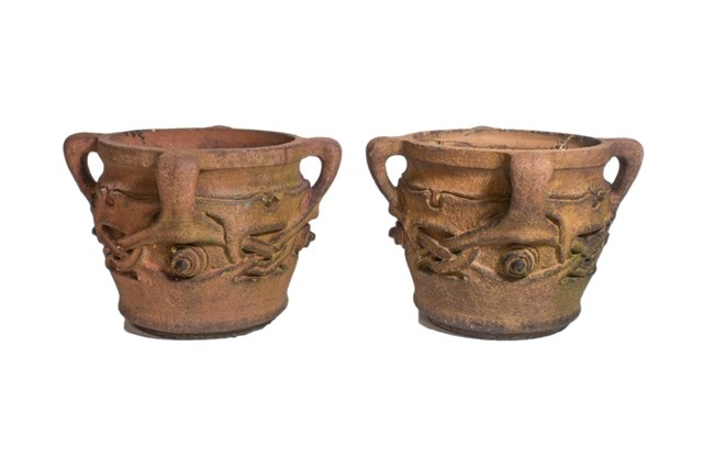 A pair of terracotta 'Olaf' pots, after... Image
