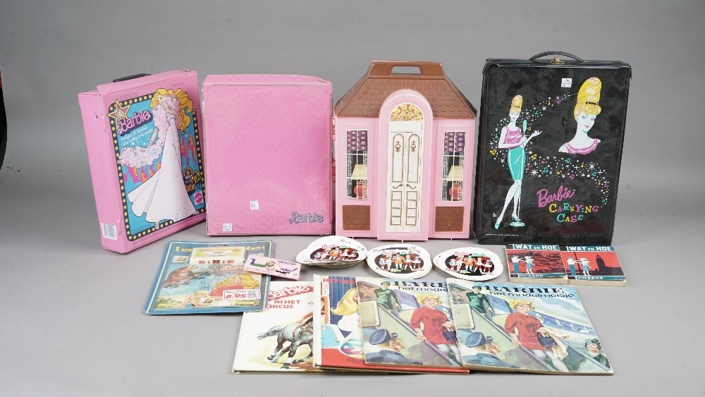 Vintage 'Barbie' doll accessories including; knitting, autograph book, dictionary 'dress up',... Image