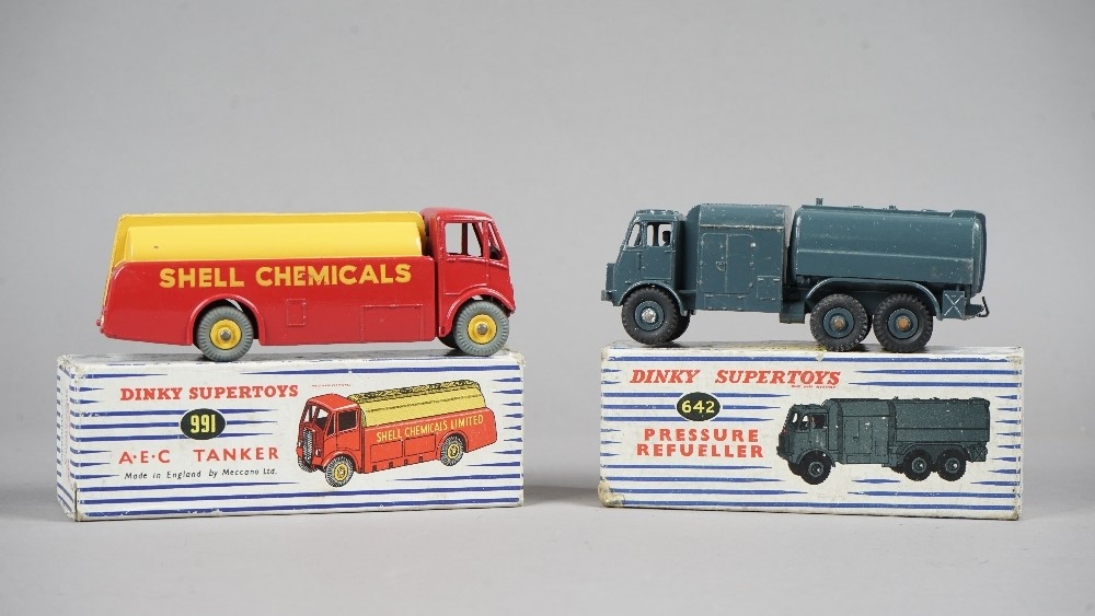 A Dinky Supertoys 642 Pressure Re-fuler and a Dinky Supertoys 991 A.E.C. Tanker, both boxed, (2). Image