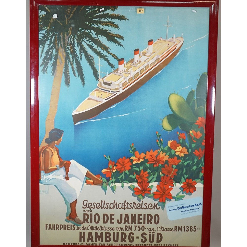 TOURISM / ADVERTISING  POSTERS:  two colour lithographs, including a tourism poster for Hamburg... Image