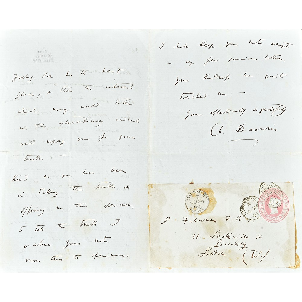 DARWIN, Charles (1809-82).  An autograph letter, signed, to Hugh Falconer, three-pages, on paper... Image