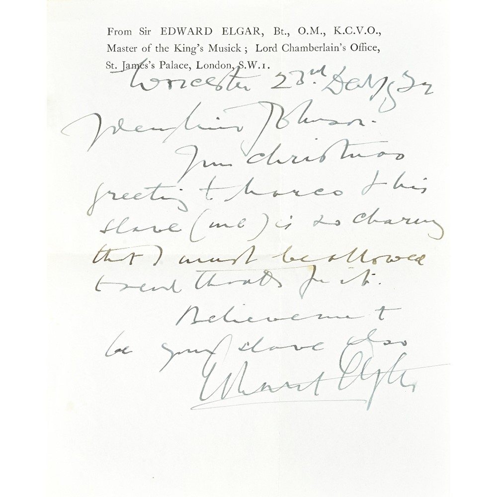 ELGAR, Edward, Sir (1857-1934).  A series of eight autograph letters, signed, written between... Image
