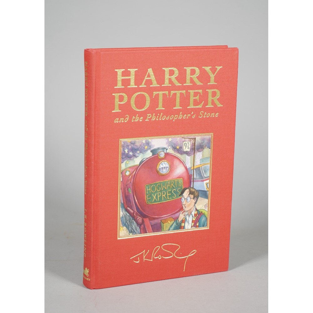 """ROWLING, J. K. (b. 1965).  A COMPLETE SET OF THE HARRY POTTER NOVELS IN """"DE-LUXE"""" EDITIONS, FIRST... Image"""