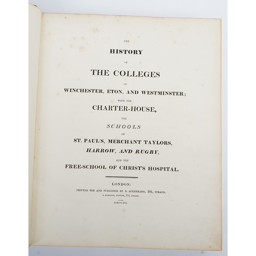 ACKERMANN, Rudolph (1764-1834, publisher).  The History of the Colleges of Winchester, Eton, and... Image
