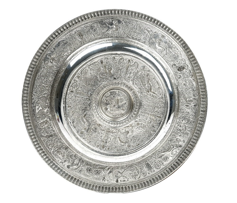 A Victorian Elkington & Co silver Venus Rosewater dish, the central boss depicting the figure of... Image