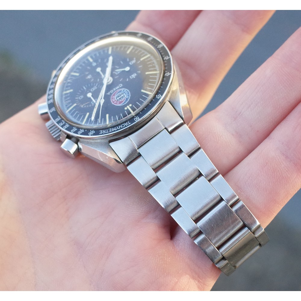 An Omega Speedmaster 'Apollo-Soyuz' ref 145.022 stainless steel chronograph wristwatch with... Image