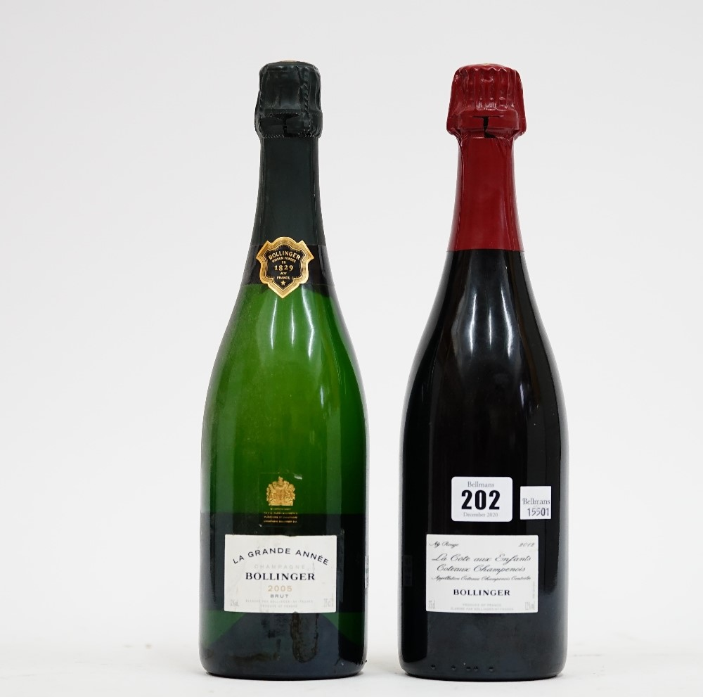 One bottle of 2012 Bollinger Ay Rouge Champagne and a bottle of 2005 Bollinger La Grand Anee... Image