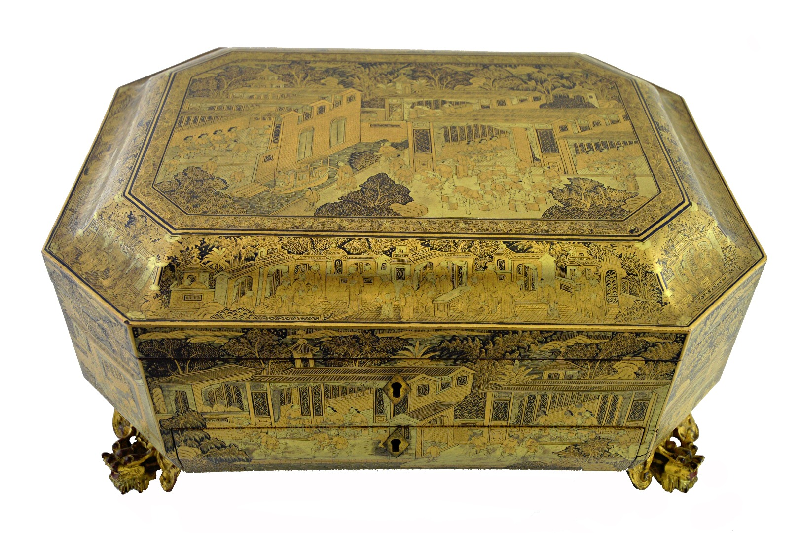 A Chinese gilt chinoiserie lacquer... Image