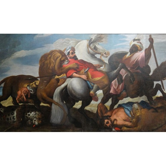 After Sir Peter Pal Rubens, The Lion Hunt, oil on canvas laid on board, 180cm x 306cm. Image