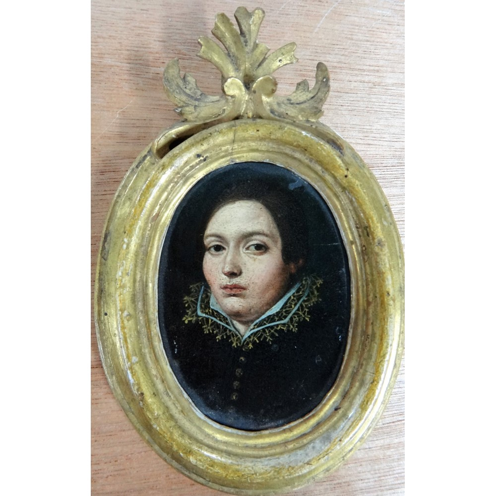 Continental School (probably 18th century), Portrait miniature of a lady, oil on copper, oval,... Image