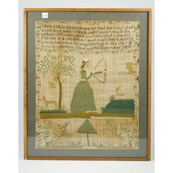 A needlework sampler by Ann Anderton Gawlworth, December 1803, depicting a female archer next to... Image
