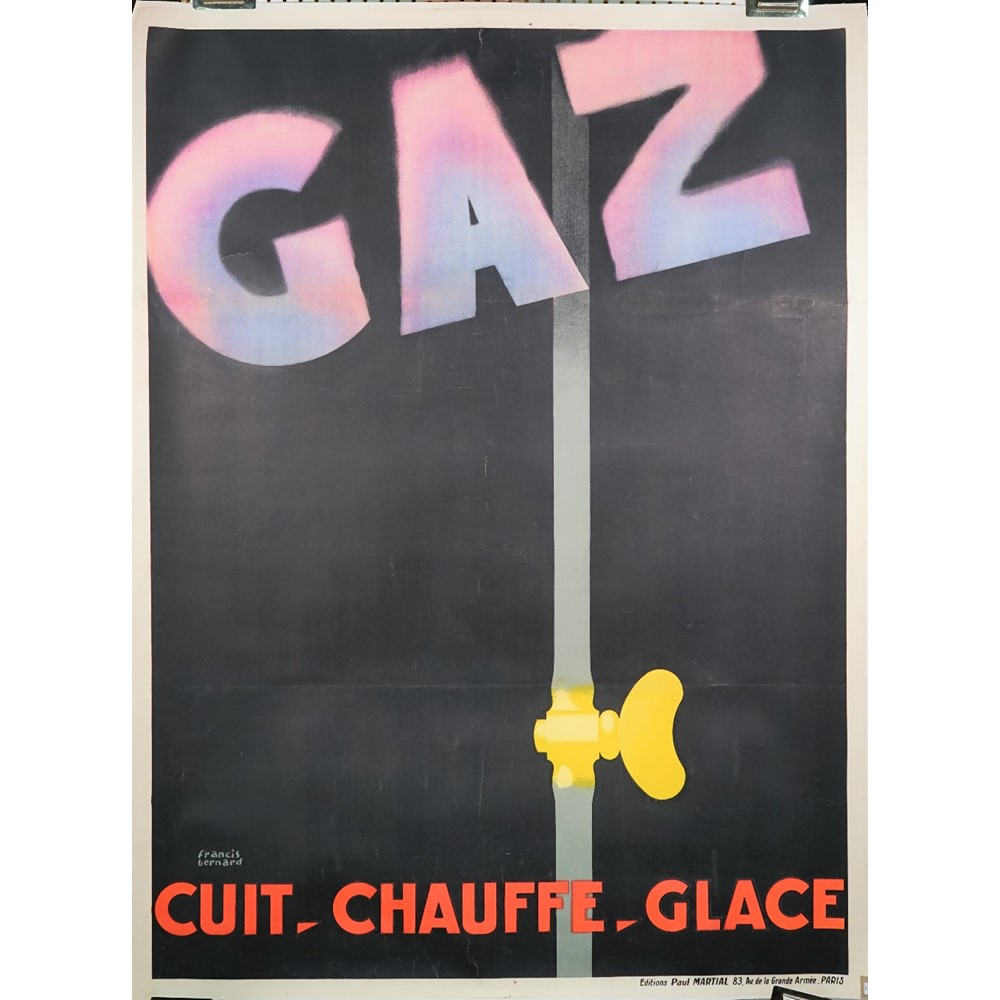 Francis Bernard, Gaz Cuit Chauffe Glace, (Gas-it cooks, heats, cools) French poster, circa 1928,... Image