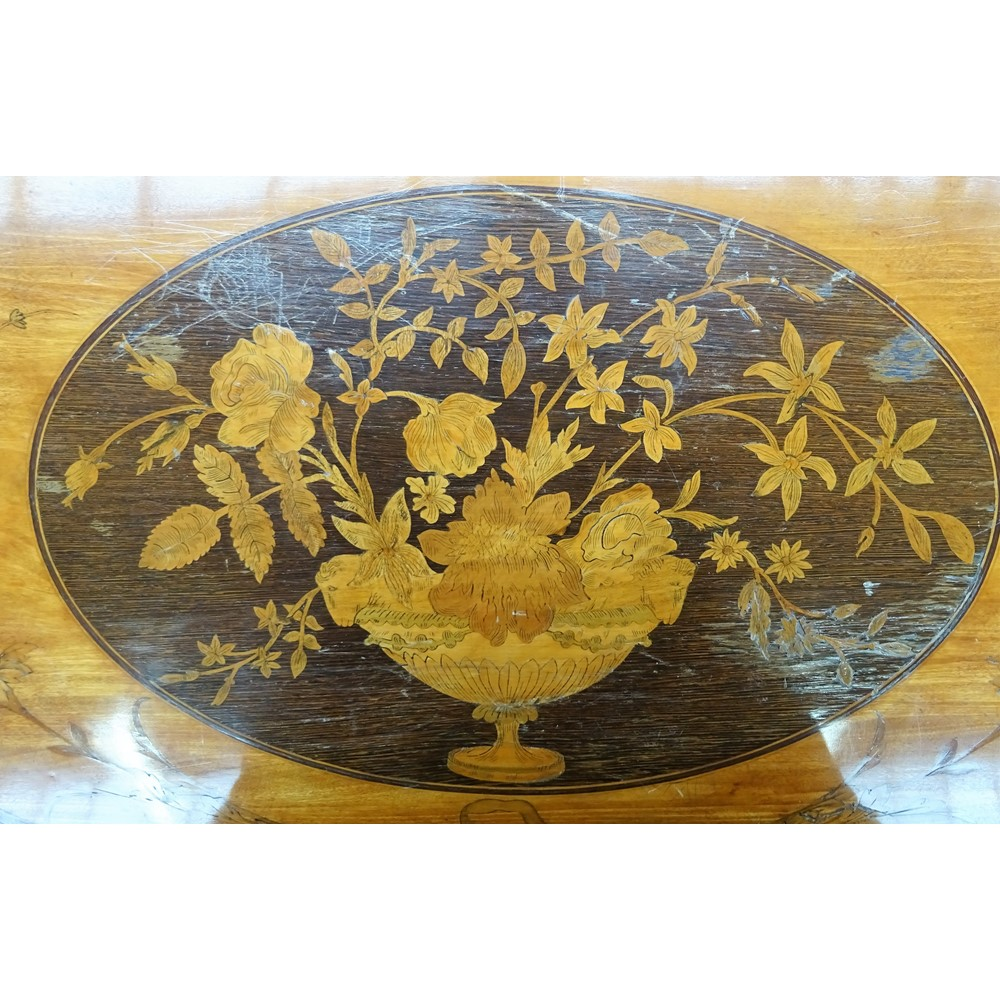 A pair of George III floral marquetry inlaid satinwood semi elliptic card tables on tapering... Image