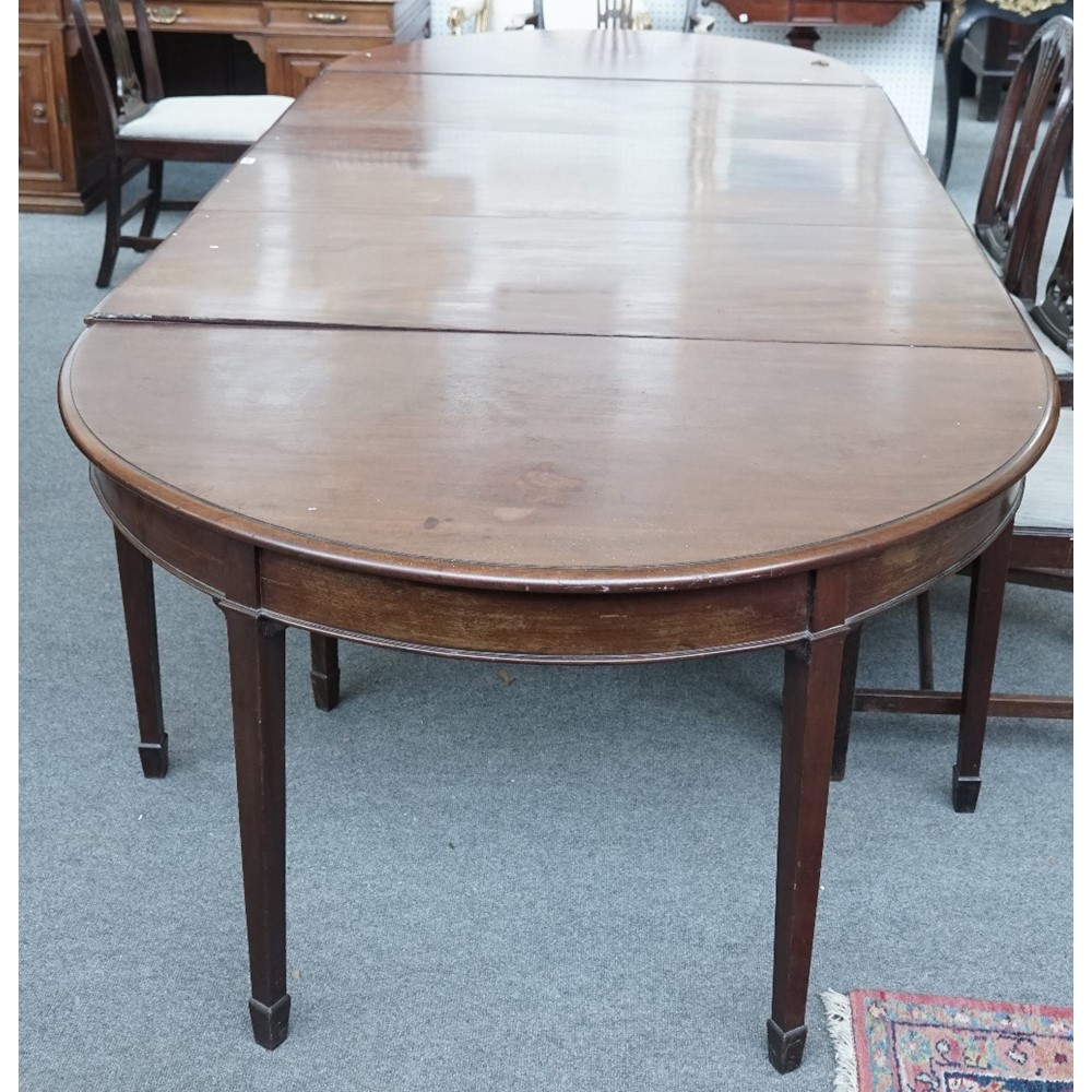 An 18th century mahogany extending dining table with central drop flap section, 132cm wide x... Image
